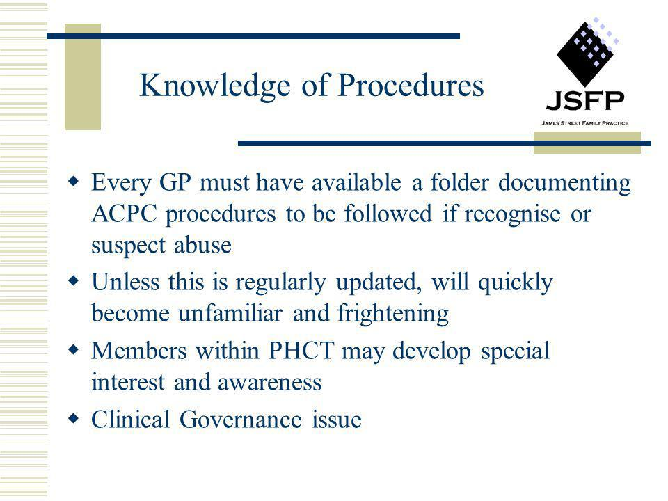 Knowledge of Procedures Every GP must have available a folder documenting ACPC procedures to be followed if recognise or suspect abuse Unless this is