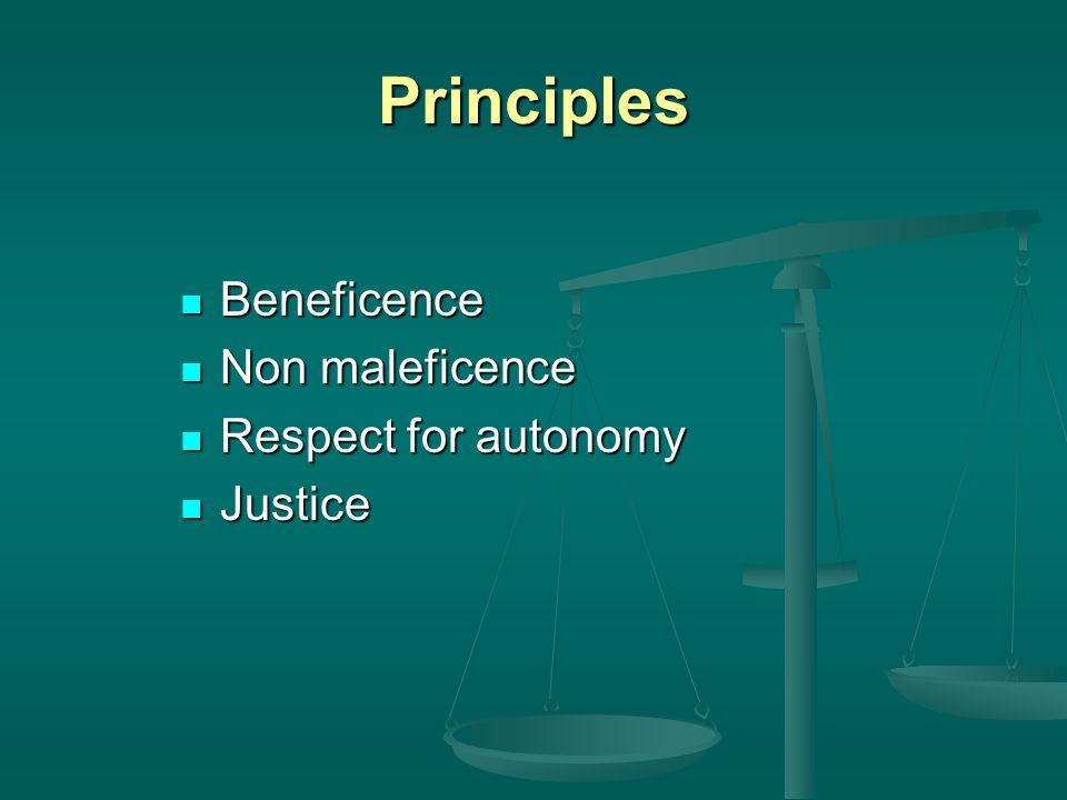 Principles Beneficence Beneficence Non maleficence Non maleficence Respect for autonomy Respect for autonomy Justice Justice