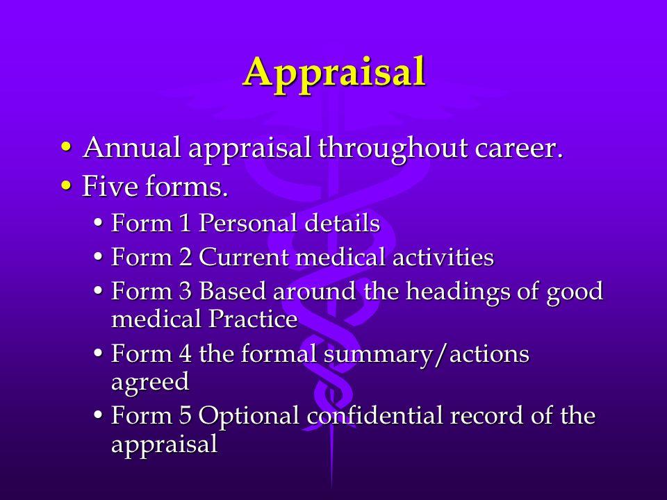 Appraisal Annual appraisal throughout career.Annual appraisal throughout career. Five forms.Five forms. Form 1 Personal detailsForm 1 Personal details