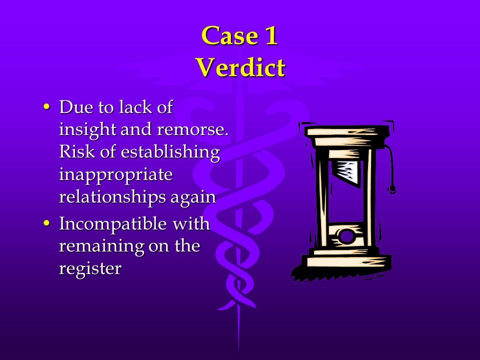 Case 1 Verdict Due to lack of insight and remorse. Risk of establishing inappropriate relationships againDue to lack of insight and remorse. Risk of e