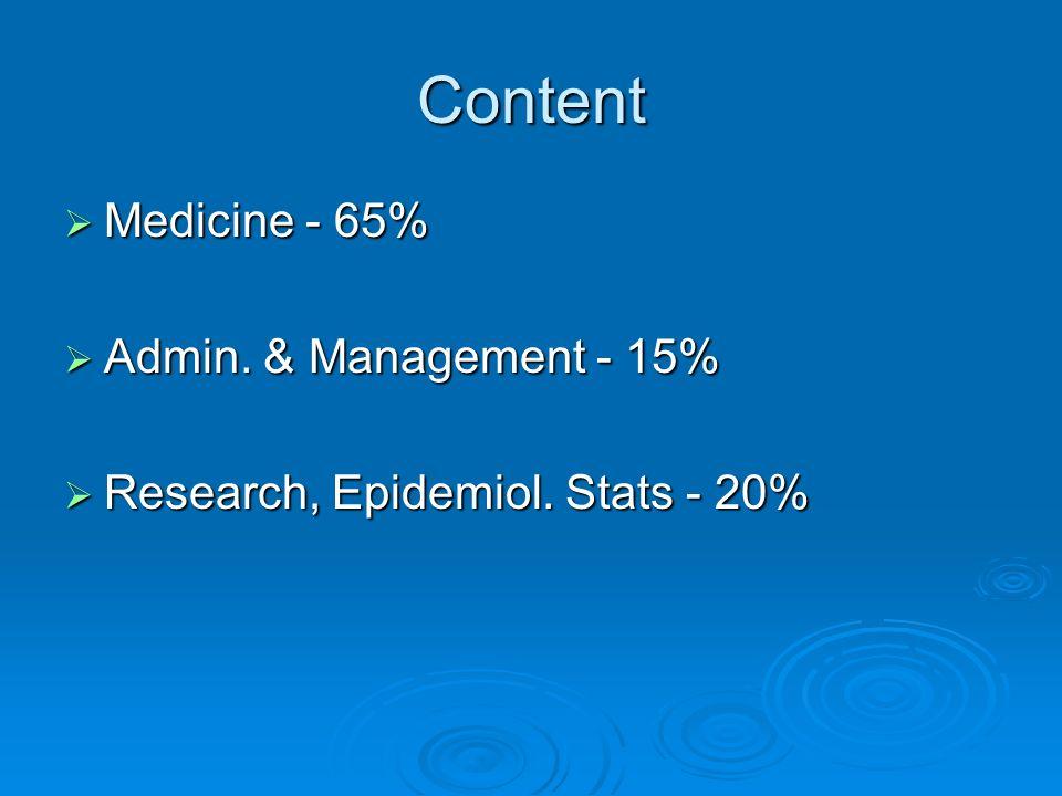 Content Medicine - 65% Medicine - 65% Admin. & Management - 15% Admin. & Management - 15% Research, Epidemiol. Stats - 20% Research, Epidemiol. Stats