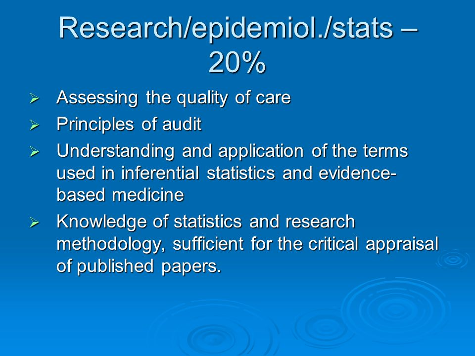 Research/epidemiol./stats – 20% Assessing the quality of care Assessing the quality of care Principles of audit Principles of audit Understanding and