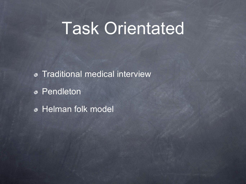 Task Orientated Traditional medical interview Pendleton Helman folk model