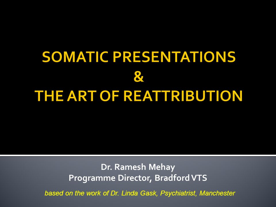 Dr.Ramesh Mehay Programme Director, Bradford VTS based on the work of Dr.