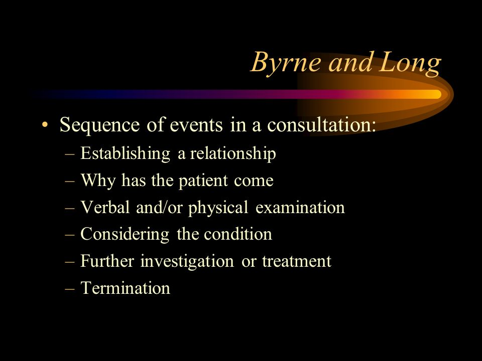 Byrne and Long 1976 Doctors Talking to patients Analysis of 2,500 tape recorded consultations Consulting styles –Doctor centred –Patient centred