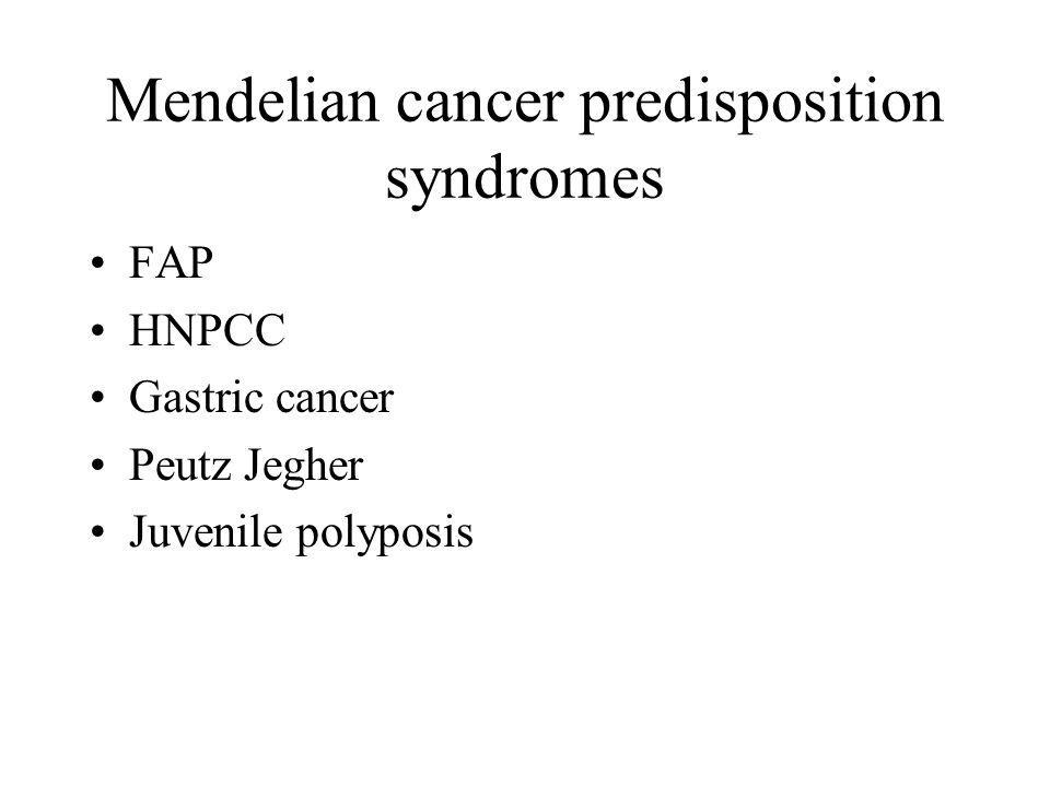 Mendelian cancer predisposition syndromes FAP HNPCC Gastric cancer Peutz Jegher Juvenile polyposis