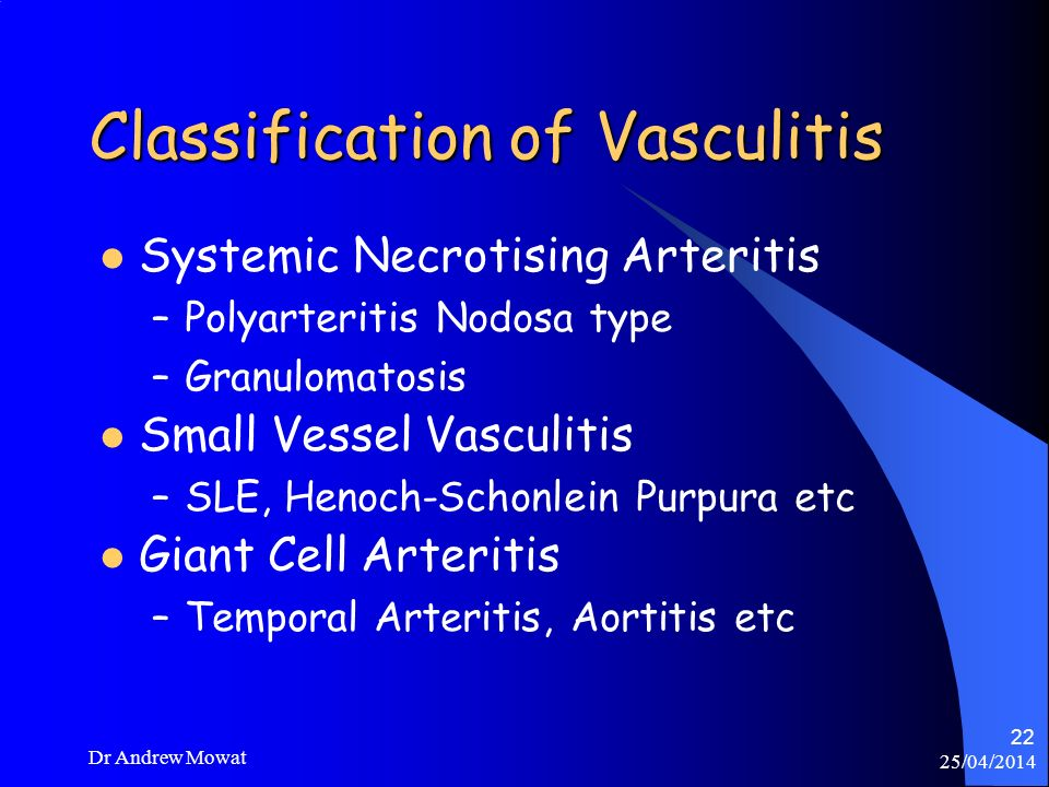 25/04/2014 Dr Andrew Mowat 22 Classification of Vasculitis Systemic Necrotising Arteritis –Polyarteritis Nodosa type –Granulomatosis Small Vessel Vasc