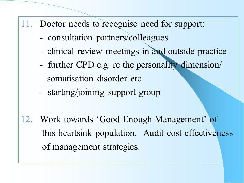11. Doctor needs to recognise need for support: - consultation partners/colleagues - clinical review meetings in and outside practice - further CPD e.
