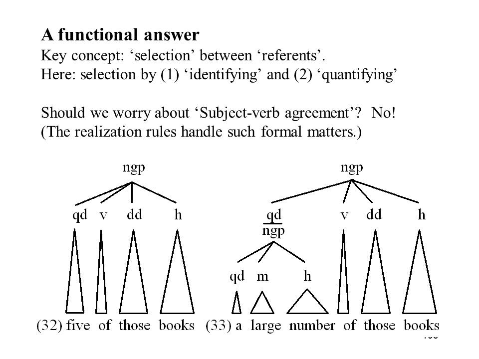 103 A functional answer Key concept: selection between referents.