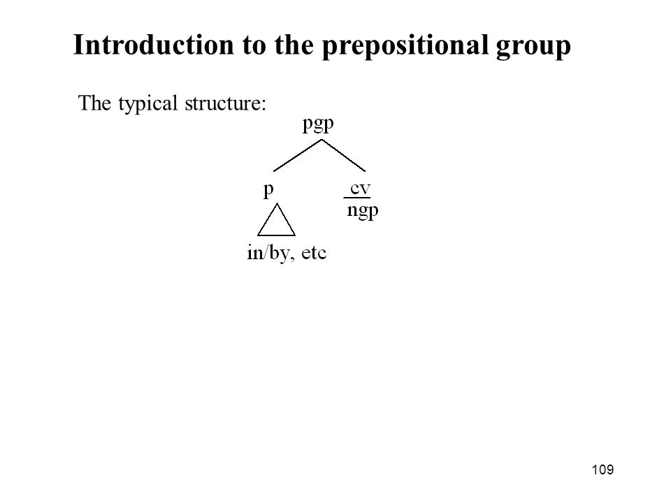 109 Introduction to the prepositional group The typical structure: