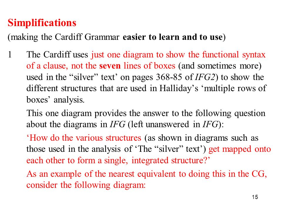 15 Simplifications (making the Cardiff Grammar easier to learn and to use) 1The Cardiff uses just one diagram to show the functional syntax of a clause, not the seven lines of boxes (and sometimes more) used in the silver text on pages 368-85 of IFG2) to show the different structures that are used in Hallidays multiple rows of boxes analysis.