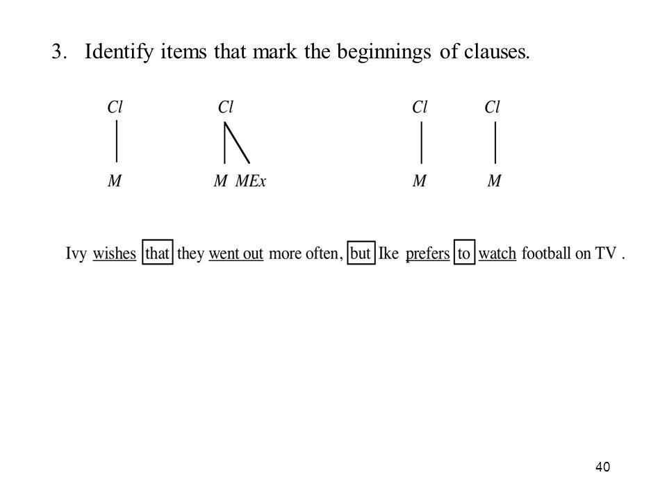 3. Identify items that mark the beginnings of clauses. 40