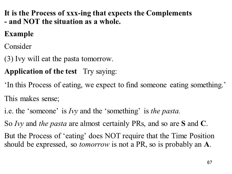 67 It is the Process of xxx-ing that expects the Complements - and NOT the situation as a whole.