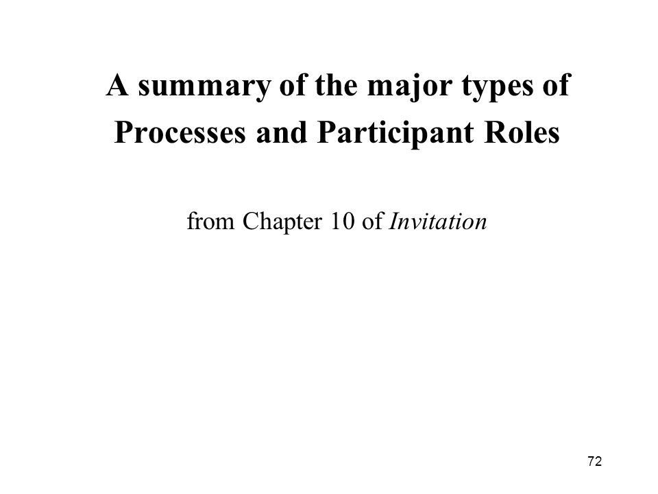 72 A summary of the major types of Processes and Participant Roles from Chapter 10 of Invitation
