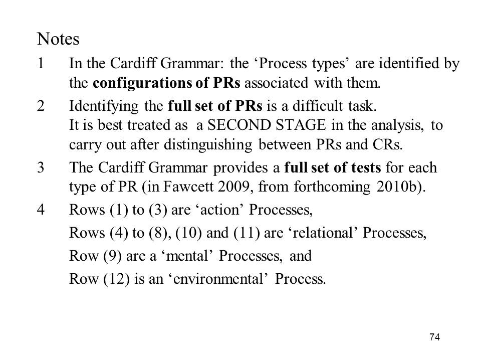 74 Notes 1In the Cardiff Grammar: the Process types are identified by the configurations of PRs associated with them. 2Identifying the full set of PRs