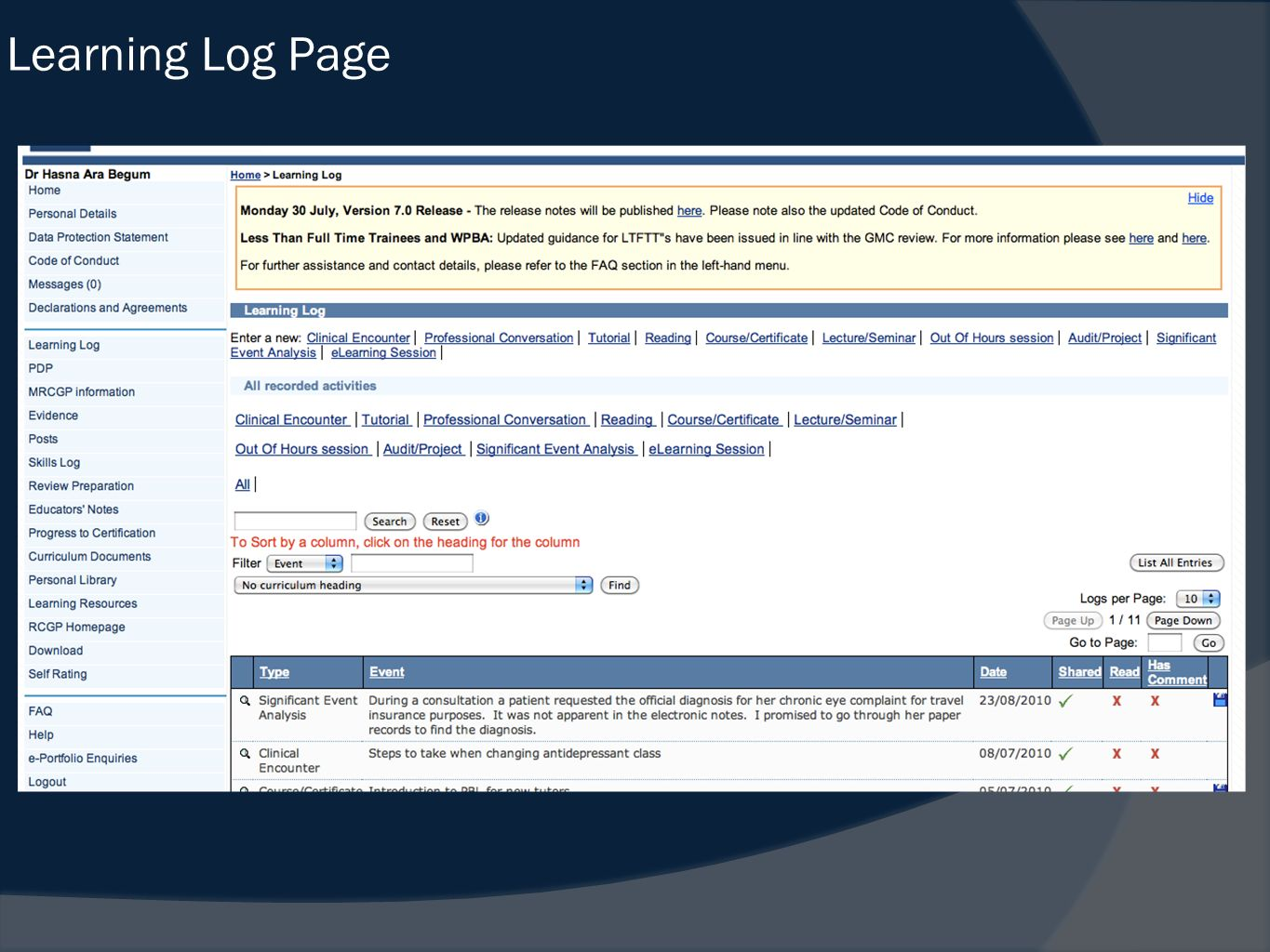 Learning Log Page