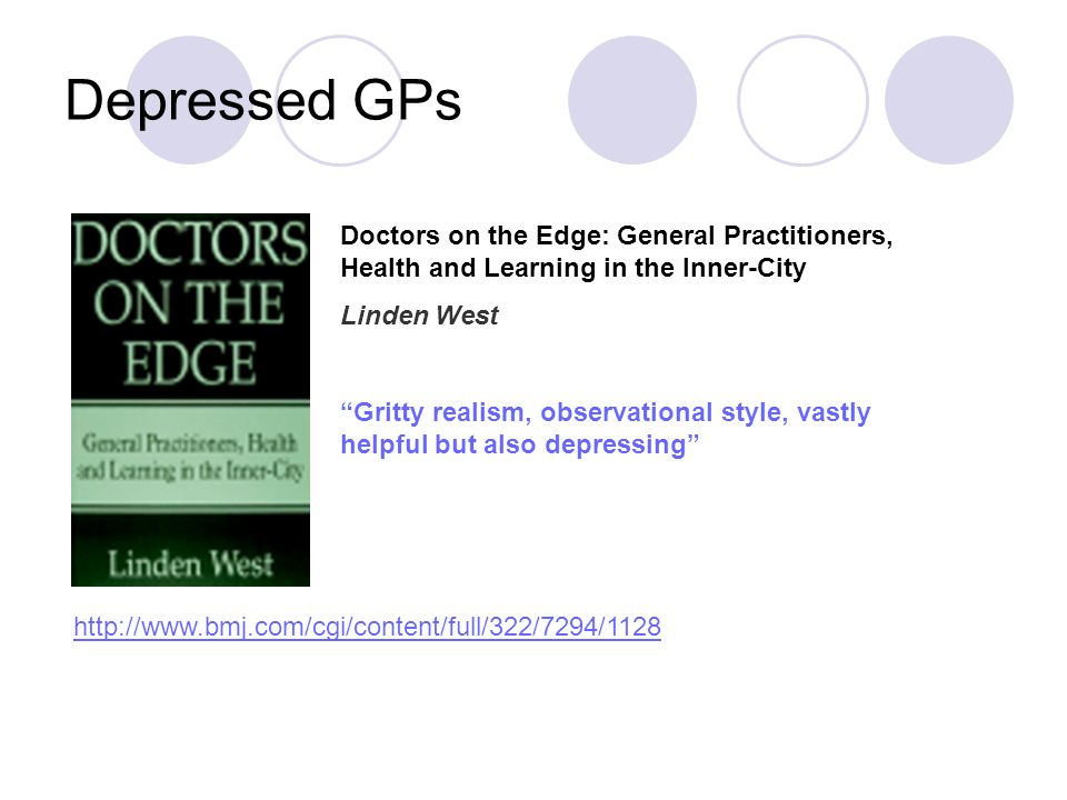 Depressed GPs Doctors on the Edge: General Practitioners, Health and Learning in the Inner-City Linden West Gritty realism, observational style, vastl