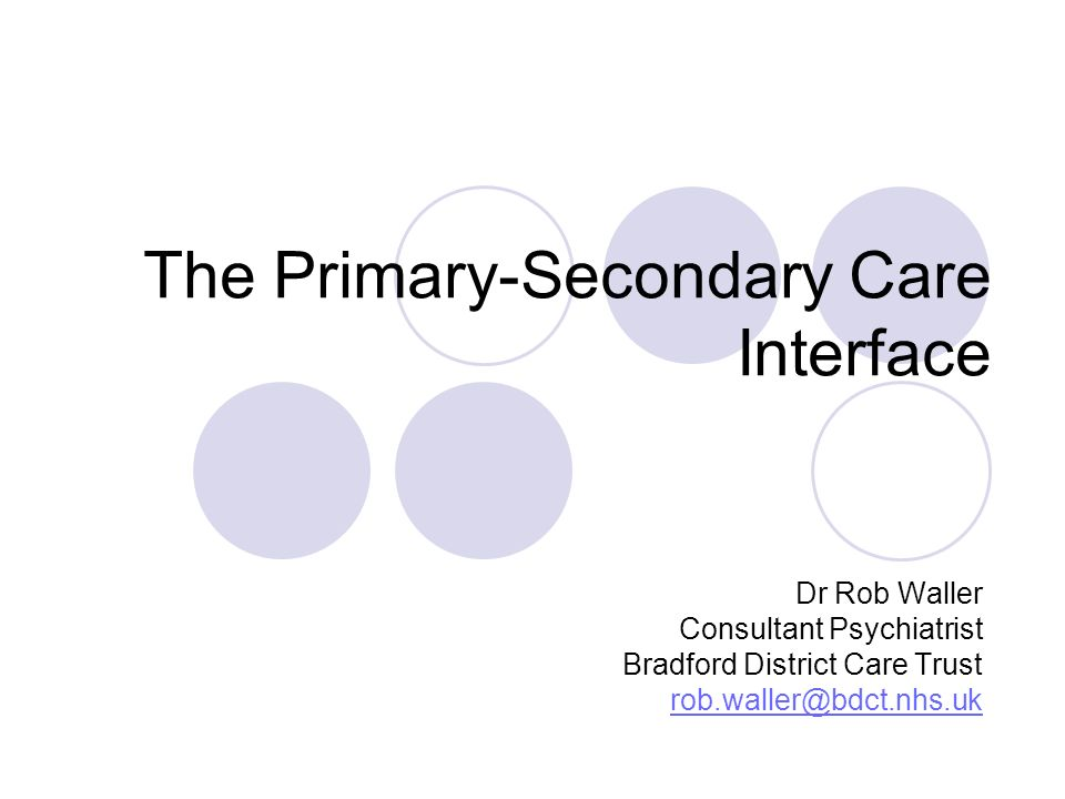 The Primary-Secondary Care Interface Dr Rob Waller Consultant Psychiatrist Bradford District Care Trust rob.waller@bdct.nhs.uk