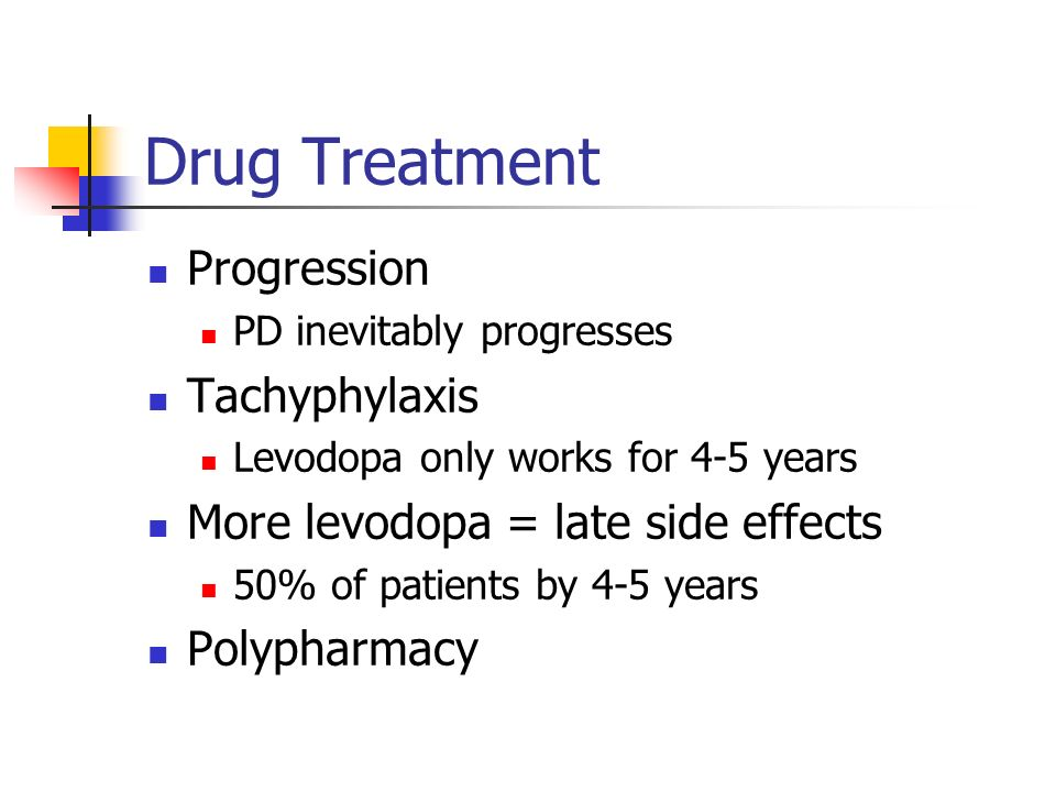 Drug Treatment Progression PD inevitably progresses Tachyphylaxis Levodopa only works for 4-5 years More levodopa = late side effects 50% of patients by 4-5 years Polypharmacy