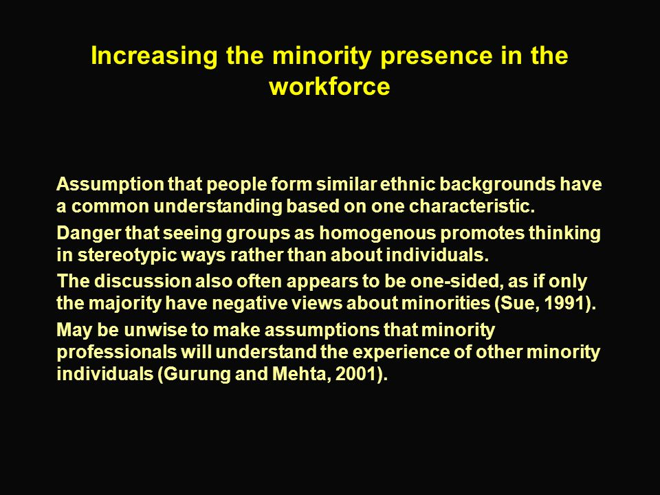 Increasing the minority presence in the workforce Assumption that people form similar ethnic backgrounds have a common understanding based on one char