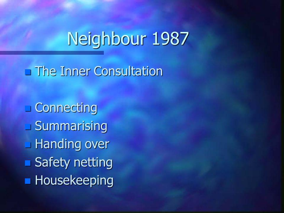 Neighbour 1987 n The Inner Consultation n Connecting n Summarising n Handing over n Safety netting n Housekeeping