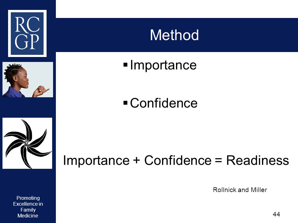 Promoting Excellence in Family Medicine 44 Method Importance Confidence Importance + Confidence = Readiness Rollnick and Miller