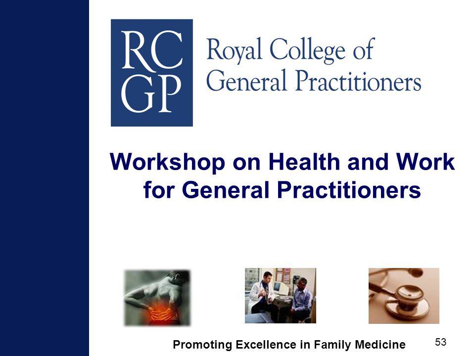 Promoting Excellence in Family Medicine 53 Workshop on Health and Work for General Practitioners