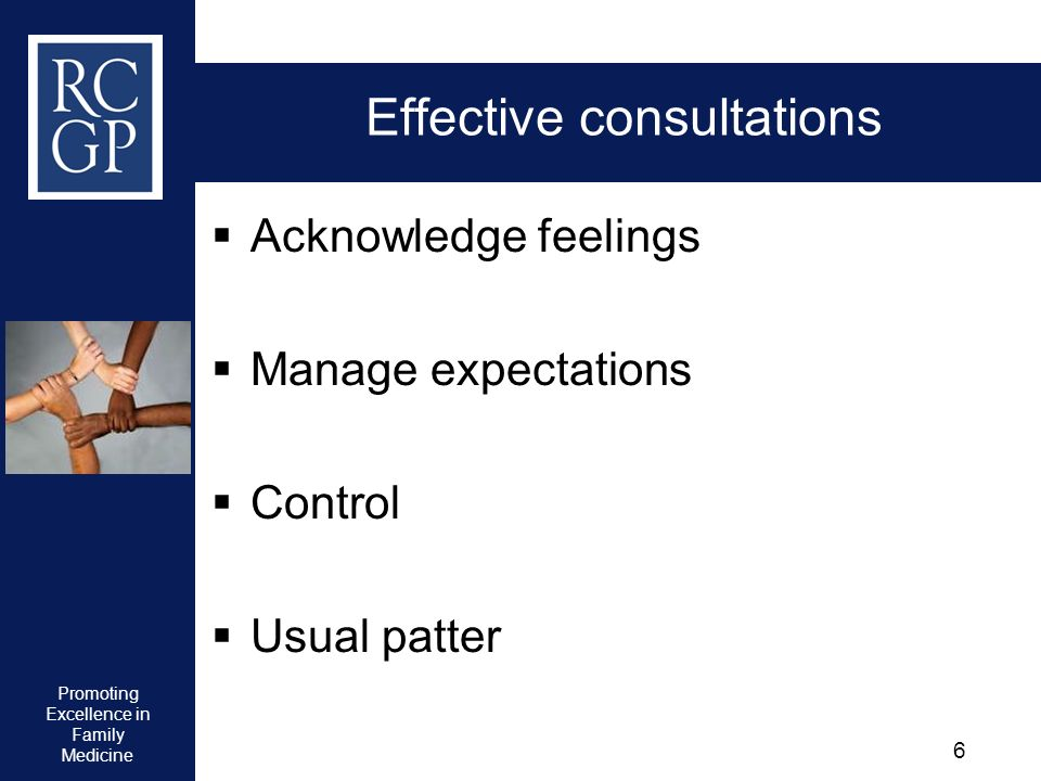 Promoting Excellence in Family Medicine 6 Effective consultations Acknowledge feelings Manage expectations Control Usual patter