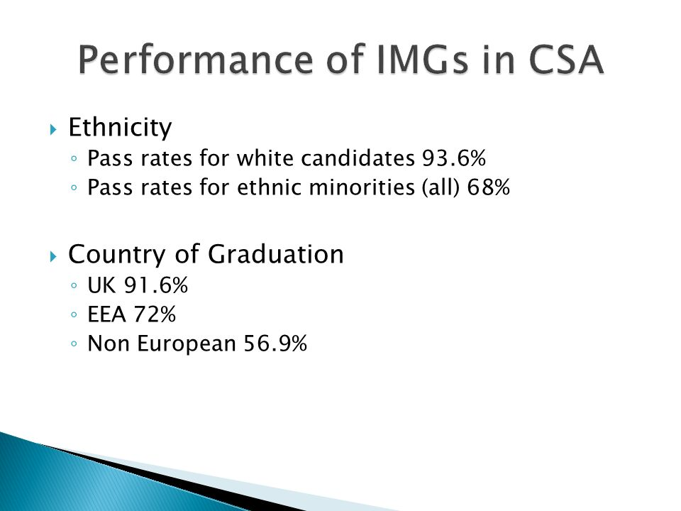 Ethnicity Pass rates for white candidates 93.6% Pass rates for ethnic minorities (all) 68% Country of Graduation UK 91.6% EEA 72% Non European 56.9%