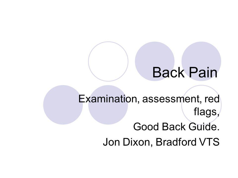 Back Pain Examination, assessment, red flags, Good Back Guide. Jon Dixon, Bradford VTS