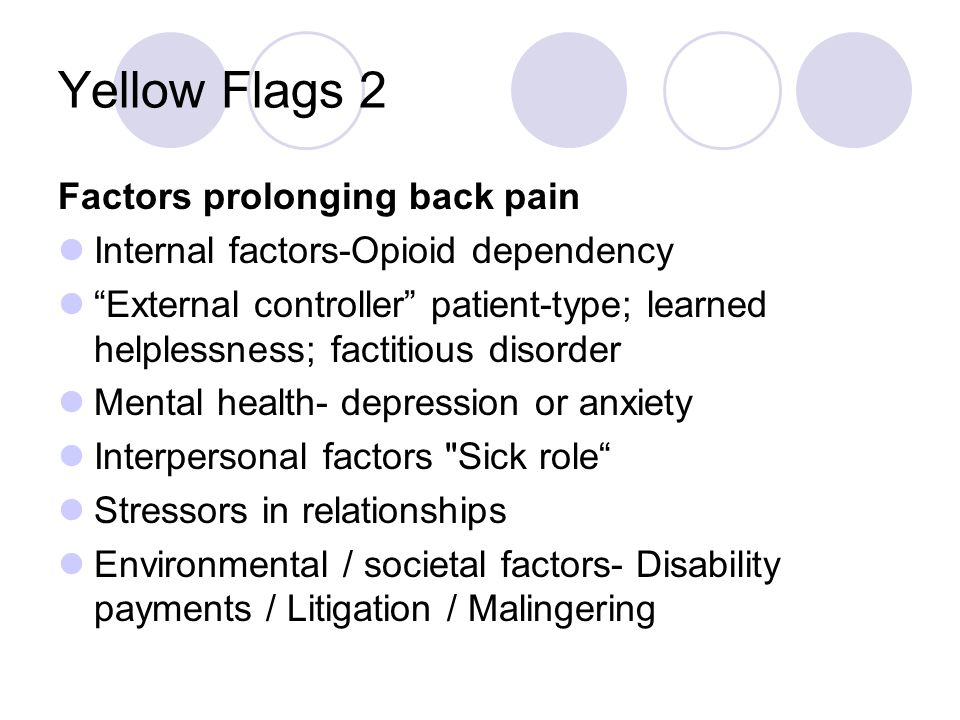 Yellow Flags 2 Factors prolonging back pain Internal factors-Opioid dependency External controller patient-type; learned helplessness; factitious diso