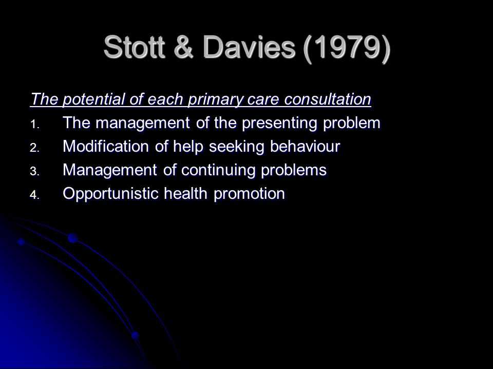 Byrne and Long (1976) Doctors Talking to Patients Sequence of events in a consultation: Sequence of events in a consultation: 1. Establishing a relati