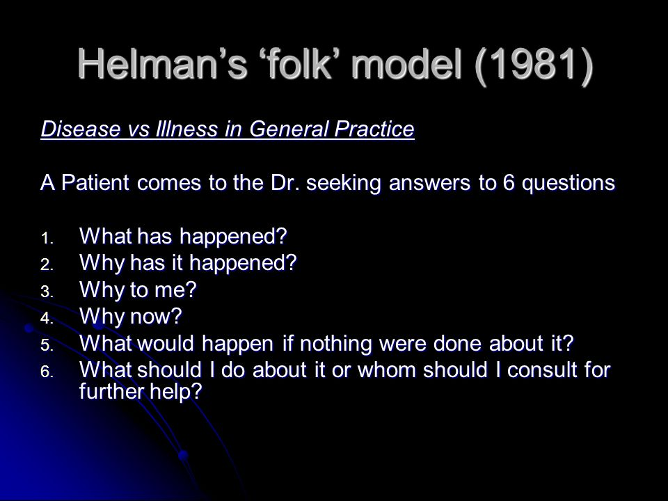 Helmans folk model (1981) Disease vs Illness in General Practice A Patient comes to the Dr.