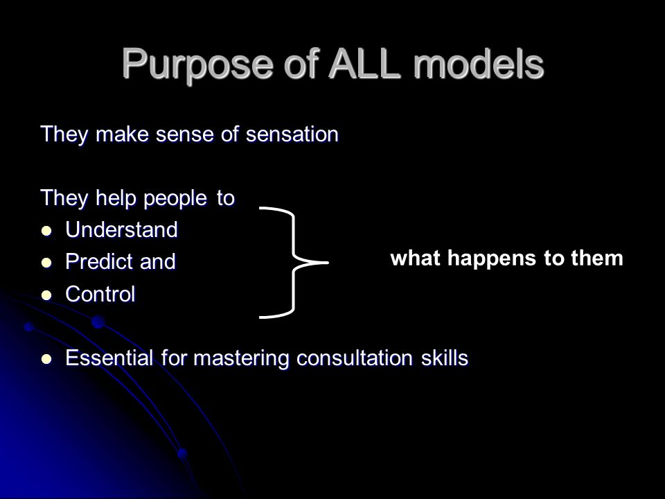 Purpose of ALL models They make sense of sensation They help people to Understand Understand Predict and Predict and Control Control Essential for mastering consultation skills Essential for mastering consultation skills what happens to them