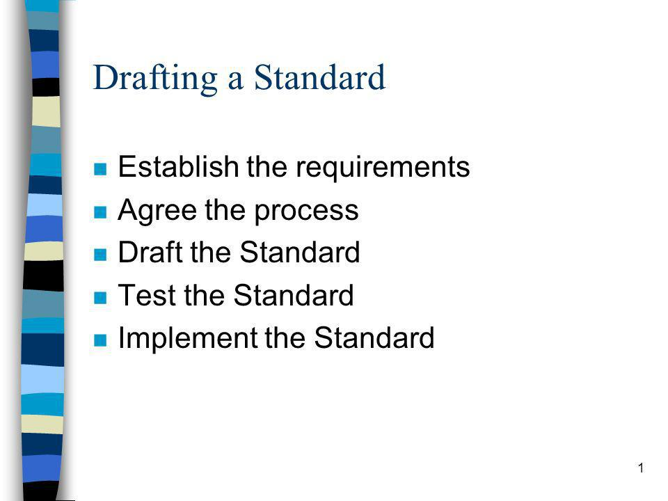 1 Drafting a Standard n Establish the requirements n Agree the process n Draft the Standard n Test the Standard n Implement the Standard