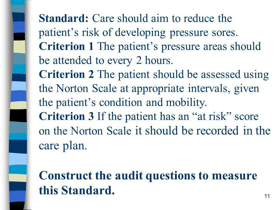 11 Standard: Care should aim to reduce the patients risk of developing pressure sores. Criterion 1 The patients pressure areas should be attended to e