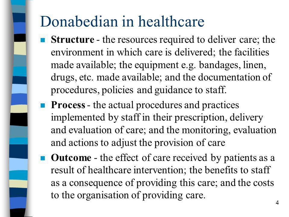 4 Donabedian in healthcare n Structure - the resources required to deliver care; the environment in which care is delivered; the facilities made avail