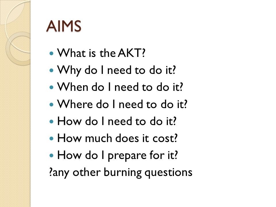 AIMS What is the AKT? Why do I need to do it? When do I need to do it? Where do I need to do it? How do I need to do it? How much does it cost? How do