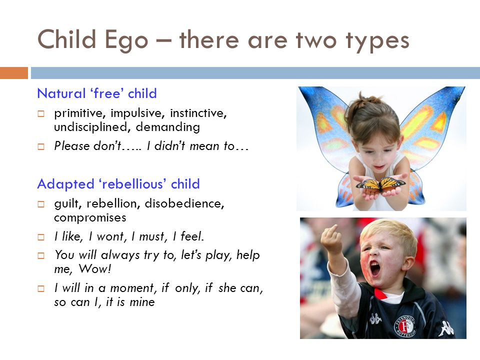 Child Ego – there are two types Natural free child primitive, impulsive, instinctive, undisciplined, demanding Please dont….. I didnt mean to… Adapted