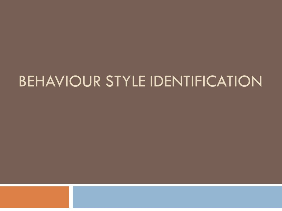 BEHAVIOUR STYLE IDENTIFICATION