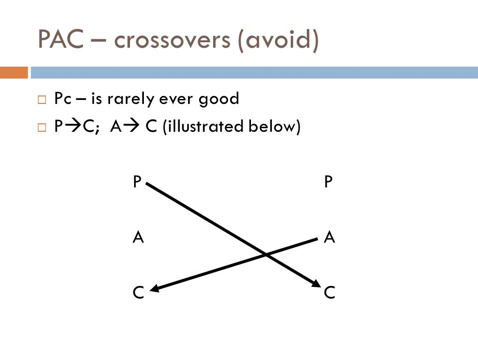 PAC – crossovers (avoid) Pc – is rarely ever good P C; A C (illustrated below)PAC