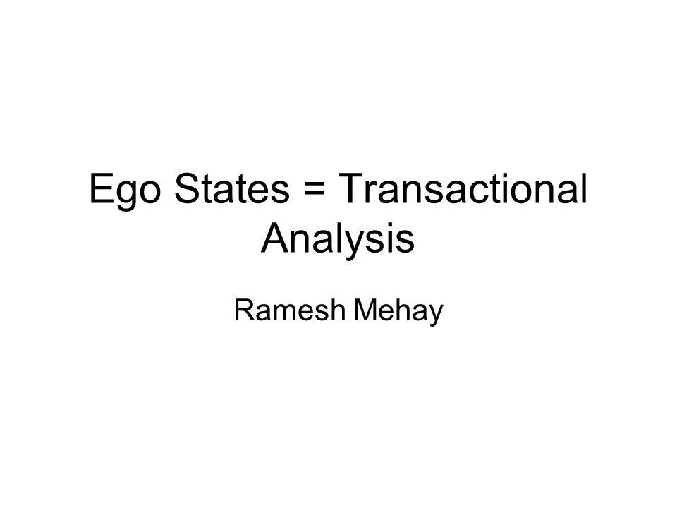Ego States = Transactional Analysis Ramesh Mehay