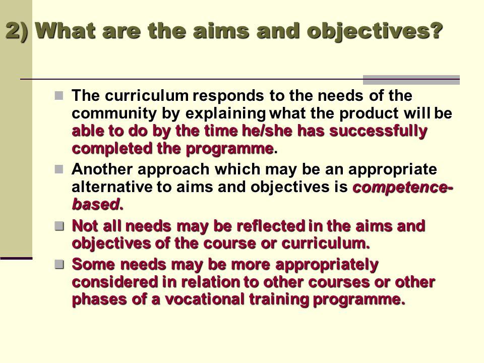 ObjectivesNeeds