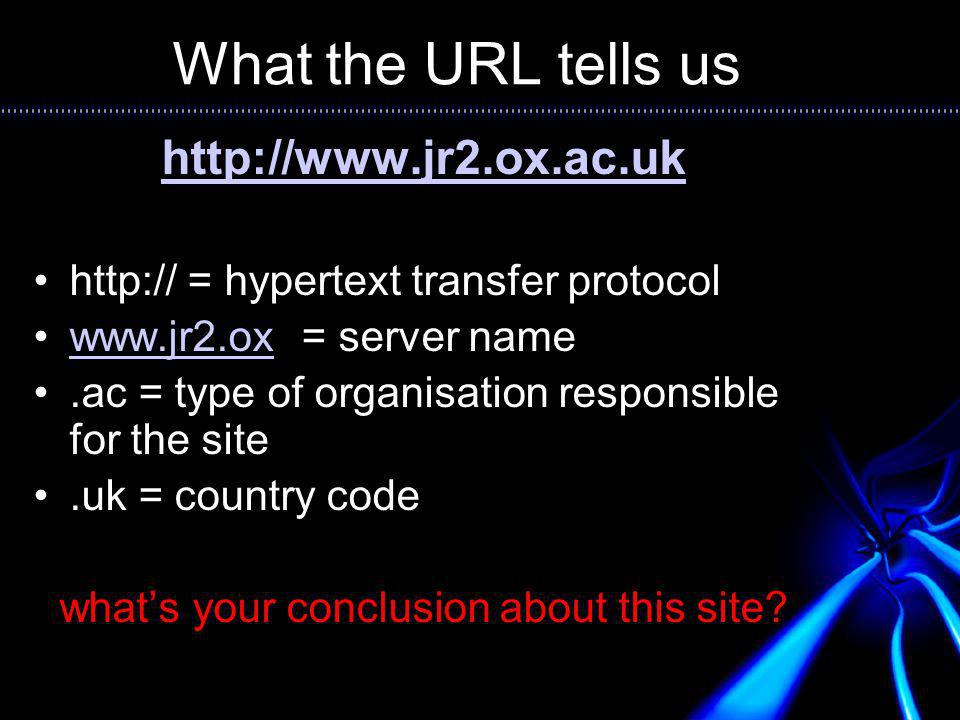 What the URL tells us http://www.jr2.ox.ac.uk http:// = hypertext transfer protocol www.jr2.ox = server namewww.jr2.ox.ac = type of organisation responsible for the site.uk = country code whats your conclusion about this site