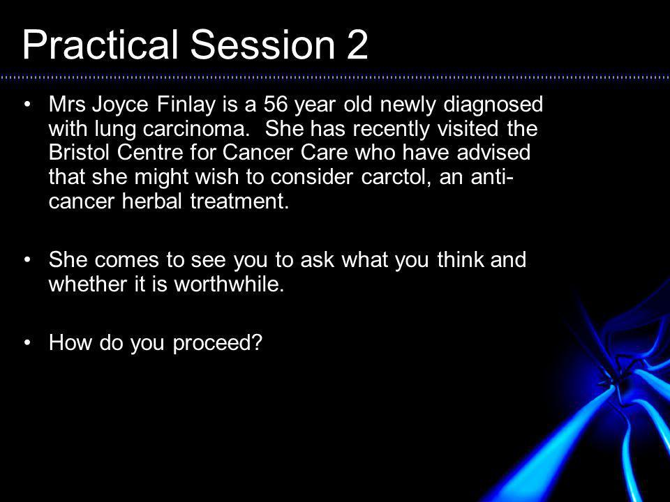 Practical Session 2 Mrs Joyce Finlay is a 56 year old newly diagnosed with lung carcinoma.