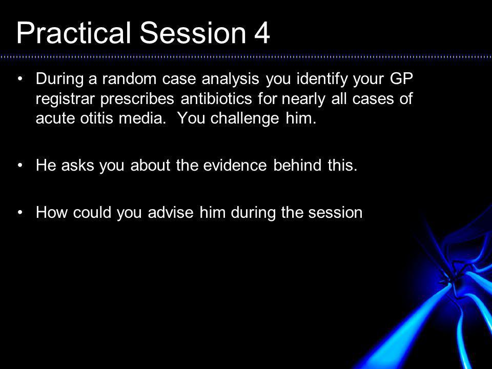 Practical Session 4 During a random case analysis you identify your GP registrar prescribes antibiotics for nearly all cases of acute otitis media.