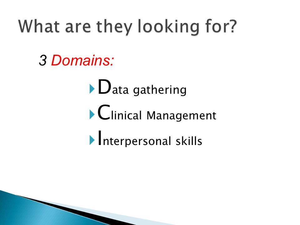 D ata gathering C linical Management I nterpersonal skills 3 Domains: