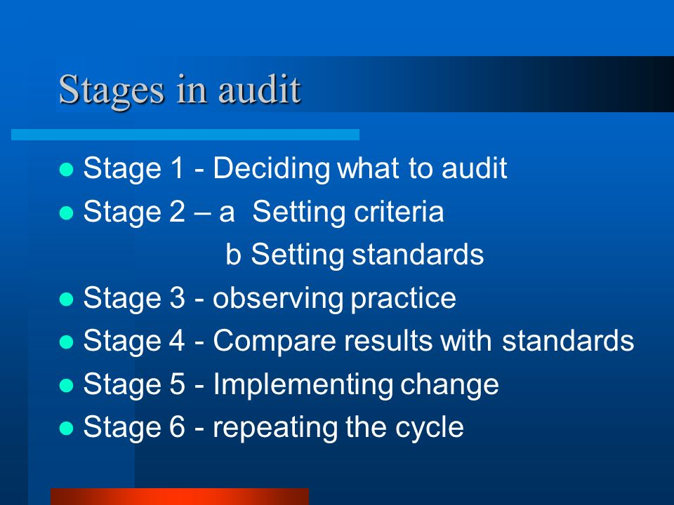 Stages in audit Stage 1 - Deciding what to audit Stage 2 – a Setting criteria b Setting standards Stage 3 - observing practice Stage 4 - Compare resul