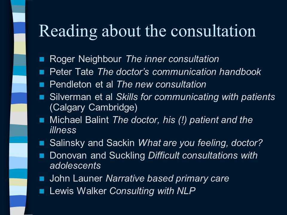 Reading about the consultation Roger Neighbour The inner consultation Peter Tate The doctors communication handbook Pendleton et al The new consultation Silverman et al Skills for communicating with patients (Calgary Cambridge) Michael Balint The doctor, his (!) patient and the illness Salinsky and Sackin What are you feeling, doctor.