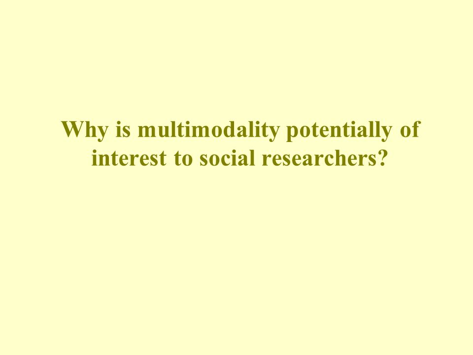Why is multimodality potentially of interest to social researchers